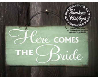 Here Comes The Bride Sign, wedding sign, rustic wedding, wedding decor, flower girl sign, 146