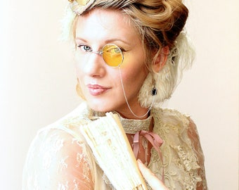 Costume Monocle , Steampunk Monocle , Yellow Monocle , Silver Monocle , Costume , Steampunk Costume , Handmade Eyewear , Steampunk Wedding