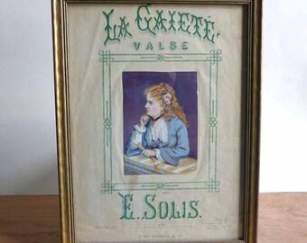 Framed Antique Victorian Sheet Music La Gaiete Valse Gaiety Waltz by E. Solis Costume Plate pub. J McDowell London, Victorian Lady Print
