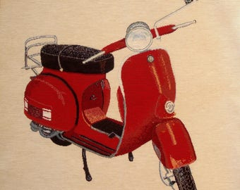 Coupon fabric Panel tapestry VESPA red jacquard upholstery, cushion, bag, size 47 x 46