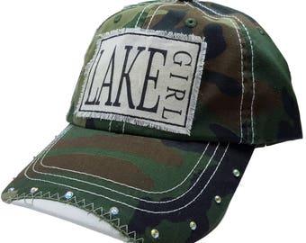 "Womens Baseball Hat, Womens Baseball Caps, Womens hats, Womens Caps, Trucker Cap, ""Lake Girl"" Trucker Hat, Ladies Trucker Hat, Camo Hat NEW"
