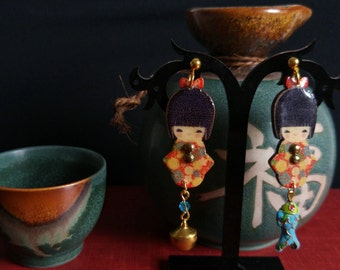 Wooden kokeshi doll earrings with cloisonne beads and crystals
