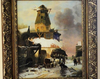 Bastiaan Oil on Canvas Listed Artist from the Netherlands Winter in Holland Amazing Frame!