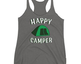 Happy Camper Racerback Tank Top Womens Camping and Hiking Vacation Shirt Travel Graphic Tee Yoga Workout