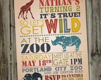 Wild Safari Birthday Invitation, Zoo Birthday Invitation, Zoo Birthday Party, PRINTABLE, Animal Party Invitations, Zoo Invitation, Zoo Party