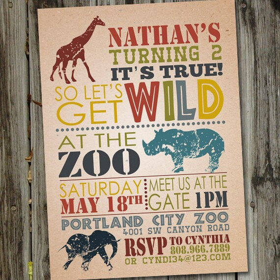 Wild Safari Birthday Invitation Zoo Birthday Invitation Zoo