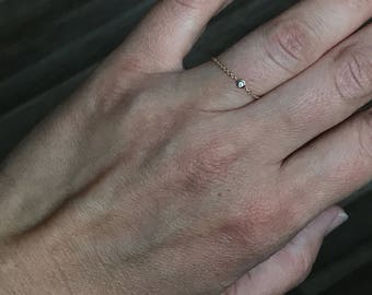 14k solid yellow gold and genuine white  diamond chain ring , flexible ring , dainty ring , accent ring