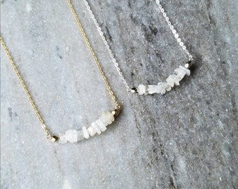 Moonstone Necklace // Moonstone Jewelry // June Birthstone Necklace // June Birthstone Jewelry // Crystal Necklace // Gemstone Necklace
