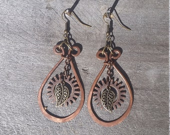 Forged Copper Dangle Earrings with Gear and Leaf