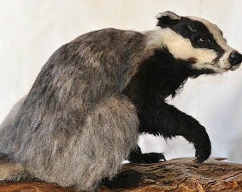 Needle Felted Animal. Needle Felted badger.  Needle felted soft sculpture. Needle felt by Daria Lvovsky.