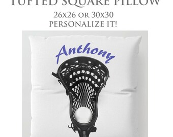 Tufted Floor Pillow-Custom Pillow-Lacrosse Floor Pillow-Sports Decor-Round Floor Pillow-Lacrosse Decor-Floor Cushion-Seating-Boys Room Decor