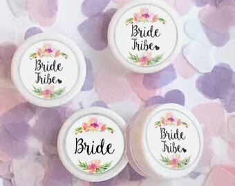 Bride Tribe Floral Wreath Cherry Pink Lip Balm Gloss Wedding Favor Bachelorette Hen Party Favour