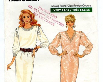 Vintage 80s Butterick 5830 Women's Loose Fitting Pullover Dress with V or Round Neck UNCUT Sewing Pattern Half Sizes 14 16 18 Bust 38 40 42