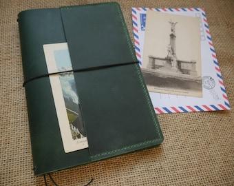 Green/red/brown A5 size fauxdori - Midori style traveler's notebook