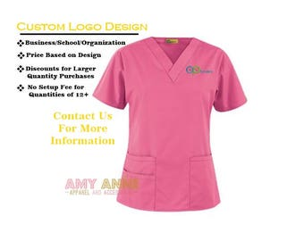 Custom Logo Design Nurse Scrub Top Nursing Medical Apparel Scrubs  Personalized Embroidered Orthodontist Dentist Doctor Eye