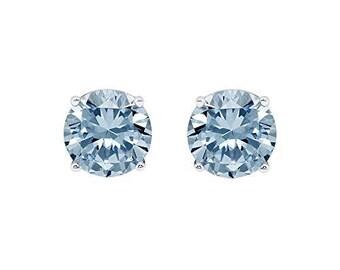 Cate & Chloe 2Ct. Beyonce Stud Earrings (Blue Topaz)