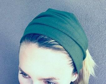 GREEN Stretch headband, organic cotton hair band, workout band, yoga headband, wide headband, bamboo headband, wristband
