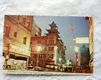 Chinatown San Francisco Postcard, Night Postcard, California Postcard, San Francisco Souvenir