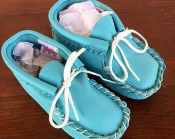Vintage Baby Blue Baby Moccasins Size-Medium Baby Shower Gift