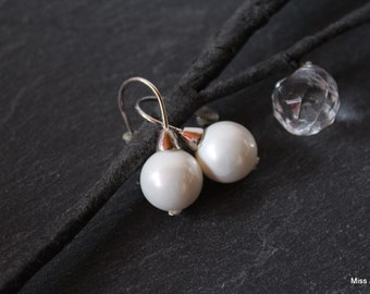 Silver wedding earrings White Pearl beads