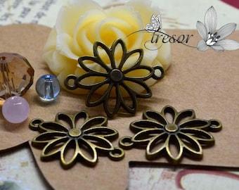 Set of 15 QZW078 charms, connector, Bronze, flowers