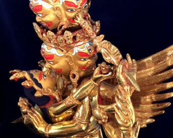 Extraordinary Dorje Phurba Vajrakilaya Statue. Tibetan Buddhist Deity w/ Consort. Fully Gold Plated & Painted.