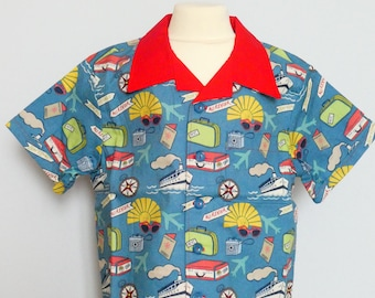 Blue Bon Voyage Childs Holiday Shirt