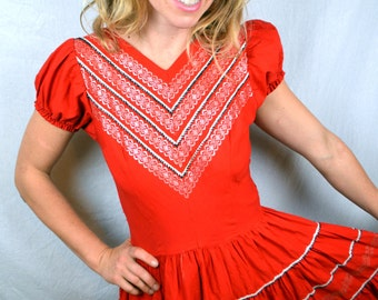 Vintage 1950s 50s Red Western Fashions Denver Colorado Dress -  Squaw Patio Rockabilly