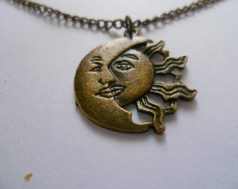 Sun and moon necklace,sun necklace, moon necklace,planet,wiccan jewelry,pagan jewelry,charm necklace,pendant,bronze,planet jewelry,celestial