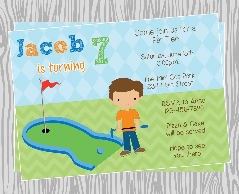 Diy boy mini golf birthday party invitation coordinating zoom filmwisefo