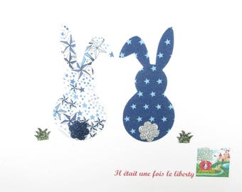Iron on patch applique fusing rabbits liberty Adelajda and Navy Blue Star liberty fusible applique rabbits
