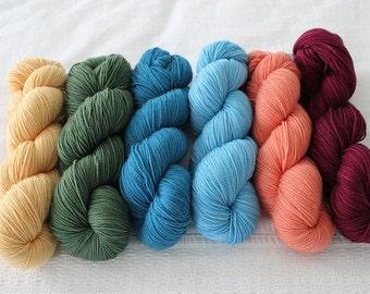 Custom Length Multicolored Pack GAMMA - Dissertation, Hand Dyed Superwash Merino Sock Yarn