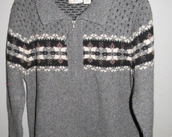 Maurice's Vintage  Sweater Cardigan Wool with Nordic Pattern Size L  Shetland Wool