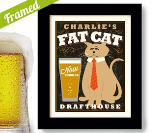 Personalized Cat Art Cat Lover Gift Beer Sign Bar Art Framed Print Beer Art Cat Breeds Craft Beer Sign for Bar Favorite Cat Family Cat