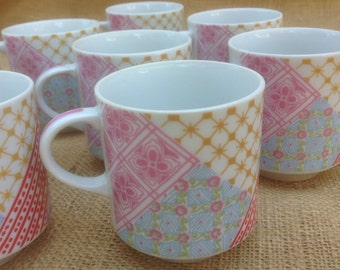 1970s Cool Coffee Mugs, Set of Eight