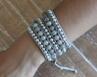 labradorite and freshwater pearl wrap bracelet with silver string