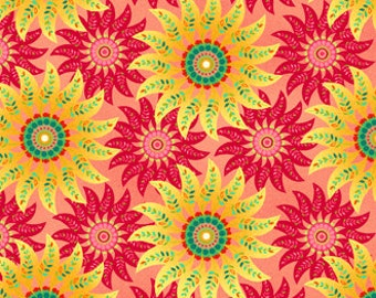Picadilly Lane Star Burst Red Yellow Fabric 1 Yard