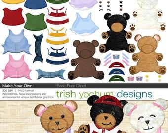 Teddy Bear Clipart - Digital Clipart Teddy Bear - PNGs Photoshop - Bear Girls Boys - Make Your Own ClipArt - Instant Download