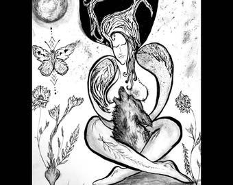 Japanese sumi-ink painting : Mother Earth Goddess