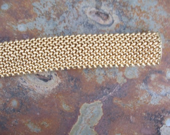 Estate 14KT Yellow Gold Heavy Wide Mesh Link Soft Bangle Bracelet Heavy