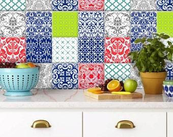 Neon Tile /wallpaper kitchen bathroom removable decal : NEON DAMASK - 12 designs = 44 pcs
