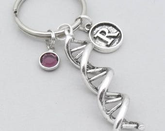 DNA keyring | DNA keychain | personalised DNA gift | genetics gift | science gift | vintage style initial | birthstone