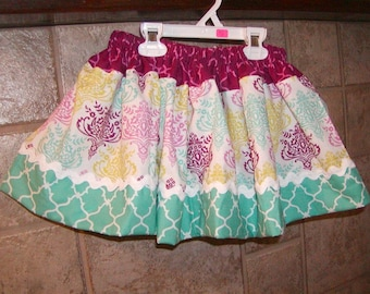 Twirly Girls Skirt, Custom Skirt, Infant..Twirly Damask..Available in 0-12 months, 1/2, 3/4, 5/6, 7/8, 9/10 Bigger Sizes Available