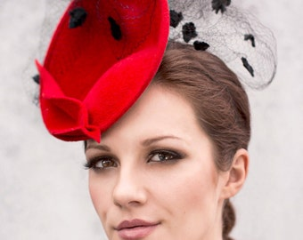 Red Saucer Hat, Occasion Wear Fascinator, Mother of The bride, Ascot Millinery - Ellie