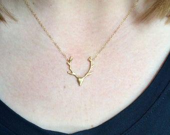 Deer Antler Pendant, Layering Necklace, Deer Necklace, Antler Necklace, Minimalist Jewelry