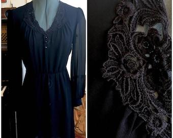 Black Lace Collar Dress