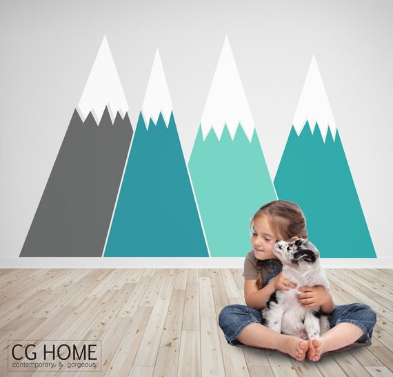 Mountains Wall Decal Headboard Baby Room Sticker Custom Personalized Nursery Crib Decor Kids Removable self adhesive #mountains010