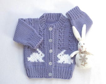 Infant girl bunny cardigan - Baby girl bunny sweater - 0 to 6 months girl - Purple knit baby cardigan - Infant knits
