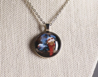 Labyrinth inspired Worm image pendant necklace