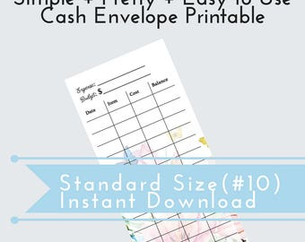 Cash Envelope System, Budgeting Tool, Printable, Printable Envelope, Cash Tracker, Cash Budget Envelope, Budget, Print as many as You Need